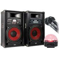Fenton SPA1200 Active Party Speaker Pair, Microphones & Jellyball