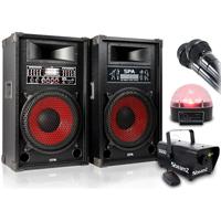 Fenton SPA1200 Active Party Speaker Pair, Microphones, Smoke Machine & Jellyball