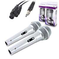 QTX Sound Silver Handheld Dynamic Microphone Pair