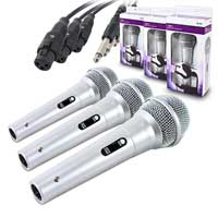 Set of Silver Handheld Dynamic Cardoid Disco DJ Karaoke Microphones