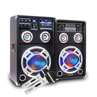 """Fenton 6.5"""" LED Karaoke Speakers & Microphone Pair"""