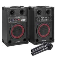 400W 8 Inch PA Powered Speaker Set Bluetooth USB SD MP3 & DJ DM11 Microphones
