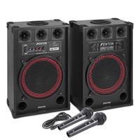 "Fenton SPB-12 12"" Bluetooth Active Party PA Speaker Pair & Black Microphones"