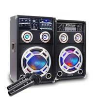 "Fenton KA-06 6.5"" Active PA Party Speaker Pair & Microphones"