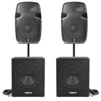 """Vonyx SPJ-1500A 15"""" Active PA Speaker Pair, SWA18 Subwoofers & Stands"""
