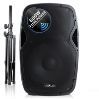"Vonyx AP1500ABT 15"" Bluetooth Active DJ Speaker 800W + Stand"