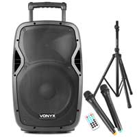 Vonyx AP1200PA Portable Battery or Mains Bluetooth PA Speaker System 600W Stands and Wireless Mics