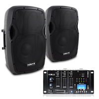 """Vonyx AP1200A 12"""" Active PA Speaker Pair with Mixer"""
