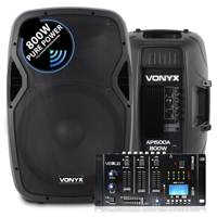 """Vonyx AP1500A 15"""" Active PA Speaker Pair with Mixer"""