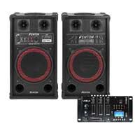Fenton SPB-10 Bluetooth Active Party PA Speaker Pair with Mixer