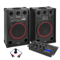 """Pair 12"""" Active Powered Party Speakers Vexus Bluetooth MP3 SD USB Mixer 800W"""