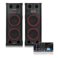 "2x Dual 10"" Active Powered Party Speakers Vexus Bluetooth MP3 SD USB Mixer 1200W"
