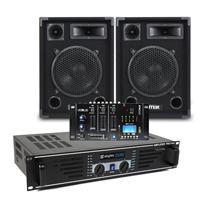 "Max 10"" Passive DJ Speakers Pair, Mixer & SKY-600B Amplifier"