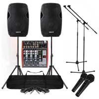 Band PA System 1200W 4-Ch USB Mixer Active Speakers Mic DJ Live Music Set Stands