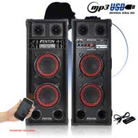 """2x SPB Dual 6.5"""" Active Party Speakers 600W + Bluetooth Music Receiver + Cables"""