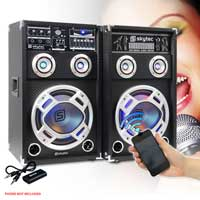 "2x Skytec 6.5"" Active Party Speakers 400W + Bluetooth Music Receiver + Cables"