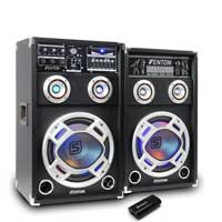 "2x Fenton 8"" Active Party Speakers 600W + Bluetooth Music Receiver + Cables"