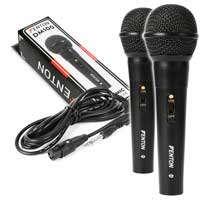 2x Black Wired Dynamic Microphone PA Karaoke Plastic Handheld Vocal Mic Skytec