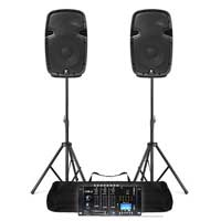 "Pair Powered 10"" PA Speakers & Vexus Bluetooth MP3 USB Mixer Stand DJ Disco 800W"
