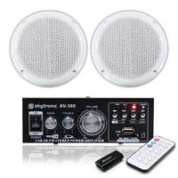 Pair Outdoor Garden Water Resistant Speakers Amplifier Bluetooth MP3 USB SD