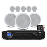 "PD CSPB6 6"" Ceiling Speaker 100V Line, Set of 8 with Amplifier"