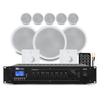 "PD CSPB5 5"" Ceiling Speaker 100V Line, Set of 8 with Amplifier & 2 Volume Control"