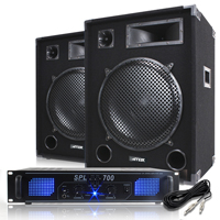 "2x Max SP15 15"" Speakers with Skytec SPL700 Amplifier"