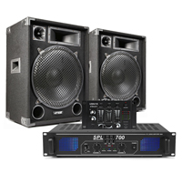 "MAX SP15 DJ Speaker 15"" 1000W Woofer, Pair + Amplifier & Mixer"