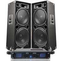 "2x Max Dual 15"" Party Disco DJ Speakers + PA Amplifier + Cables System 2000W"