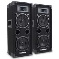 "2x Skytec Dual 6"" Bedroom Studio House Party Disco Speakers DJ Sound Setup 1200W"