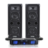 "2x Skytec 2 x 6"" Speakers EQ Power Amplifier Cables Bedroom DJ Disco Party 1200W"