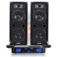 "MAX 2x8"" DJ Speakers 800W, Pair + Amplifier & Cables"