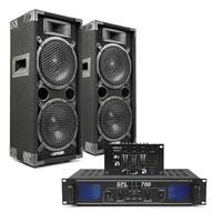 "Max Dual 8"" Passive DJ Speaker Pair, Mixer & SPL700 Amplifier"