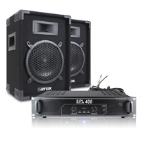 "Max 8"" Passive DJ Speakers Pair with SPL400 Amplifier"
