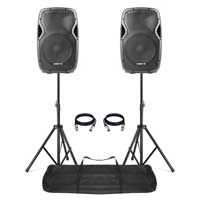 "Vonyx AP1200A 12"" Active DJ Speakers Pair + Stands"