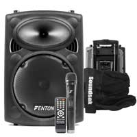Fenton FPS10 Active Bluetooth Disco Party Speaker + Soundsak Speaker Carry Bag