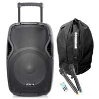 Vonyx AP1500PA Portable PA System, Wireless Mics & Speaker Bag