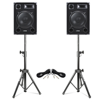 "2x Max SP12 12"" Passive Speakers with Stands"