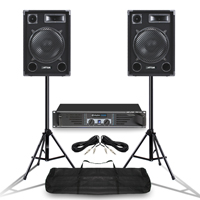 "Pair MAX 12"" Mobile DJ Party Speakers Ekho RX600 Power Amplifier w/ Stands 1400W"