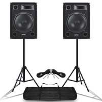Complete PA System with SP15 Passive DJ Speakers, Stands & Bag