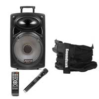 Fenton FPS12 12 Inch Active Rechargeable Battery Powered Portable PA System with Soundsak Carry Bag