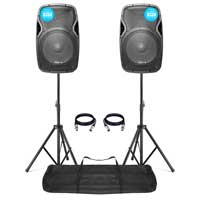 "Vonyx AP1500A 15"" Active Speaker 800W Pair + Stands"
