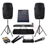 Complete Karaoke System with AP1200A Speakers, Stand, Mixer & Mics