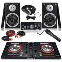 Pair Monitor Speakers Amplifier Numark Mixtrack Pro 3 Mixer Controller DJ Kit