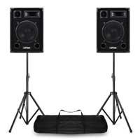"Max 10"" Passive DJ Speakers Pair & Stands"