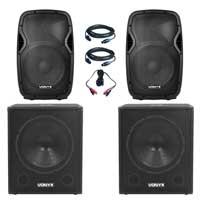 "Vonyx AP1200 12"" Passive DJ/PA Speaker with SMWBA18 Subwoofer Pair"