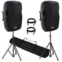 "2x PRO AP1500 Active PA Speaker System 15"" Bluetooth DJ Disco Sound System"
