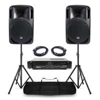 "Complete PA System with Studiomaster 12"" Passive Speakers, Amplifier, Stands & Bag"