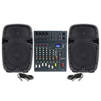 "Ekho RS10A 10"" Active PA Speaker Pair & Studiomaster Club XS 8 Channel Mixer"