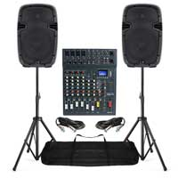 "2x Ekho RS10A 10"" Speakers with Studiomaster CLUBXS8 Mixer and Stands"
